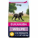 Eukanuba Puppy Trockenfutter für große Rassen – Qualitatives Welpen Futter mit verbesserter, neuer Rezeptur für Hunde im Alter von 1-14 Monaten in der Geschmacksrichtung Huhn – 1 x 3kg Beutel