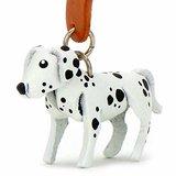 Monkimau 8014 Dalmatiner Hund-e Schlüsselanhänger Deko-Figur 3D Charm-s 5cm handgefertigte Haus-Tier Leder Anhänger