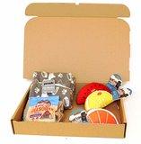 Rock House Hunde Geschenkset - Haustier Decke, 3 Quietsche Stofftiere & Packung mit Bakers Leckerli in Geschenkverpackung